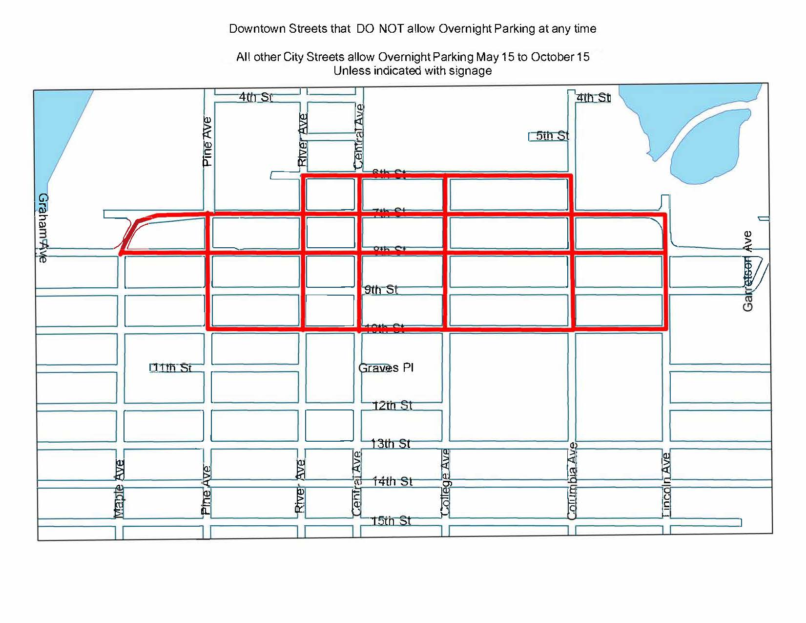 Overnight Parking Downtown Parking Map